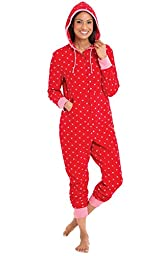 PajamaGram Red & Pink Polka Dot Fleece Hooded Onesie for Women, Medium / 8-10