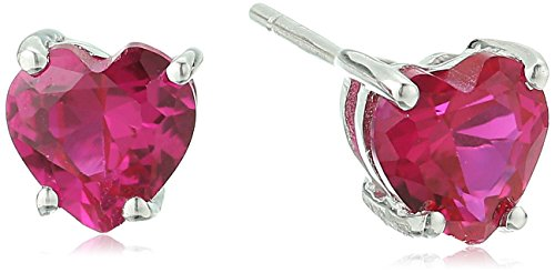 (10k White Gold Heart Shape Gemstone Stud Earrings )