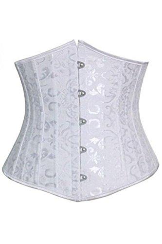 Spring Fever Women's Spiral Steel Boned Satin Waist Bustier Corset Underbust(XS/waist:21-23inch US Size 2-4, White)