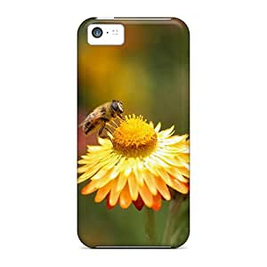 Iphone 5c Hard Back With Bumper Silicone Gel Tpu Case Cover Bee Flowers