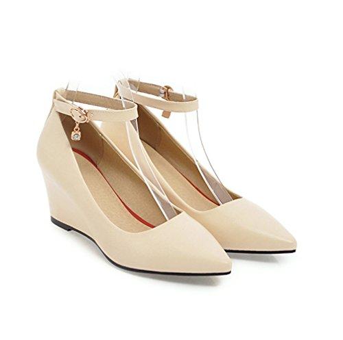 mogeek Élégant Strap Ankle Espadrilles Femme Escarpins Talons Chaussures Beige Hauts Compensé Classic 8tfw8r4Fq