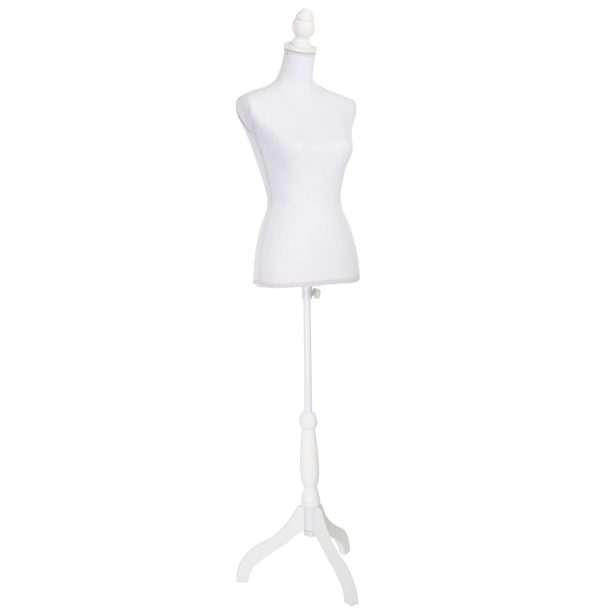 Giantex Female Mannequin Torso Body Dress Form with White Adjustable Tripod Stand, 51.2''-66.2'' Adjustable Height Non-Straight Pinnable for Pants Clothing Dress Jewelry Display (White) by Giantex
