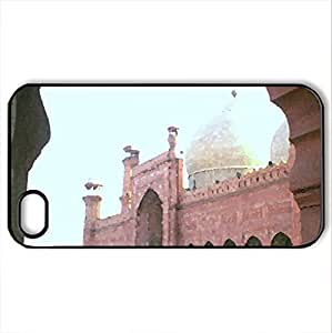 Baadshahi mosque,Lahore - Case Cover for iPhone 4 and 4s (Ancient Series, Watercolor style, Black)