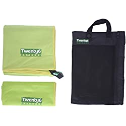 Microfiber Travel / Camping Towel Compact Quick Dry (Green/Yellow, Large)