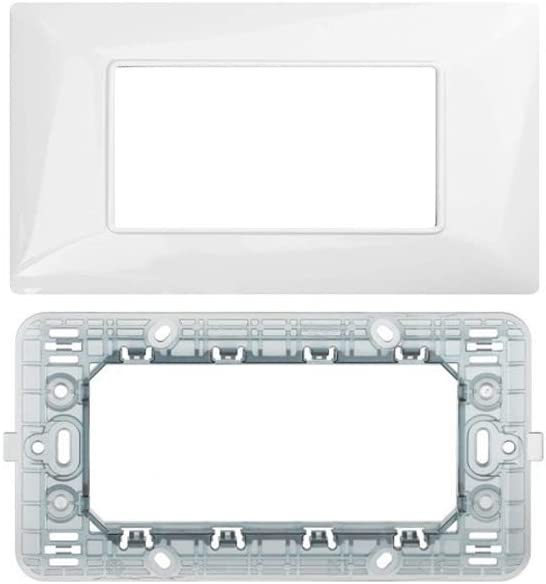 Supporto 4 Posti Compatibile matix Kit Placca 4 Posti 4M Compatibile matix Serie Completa di Placche per Interruttori Prese BIANCA LineteckLED