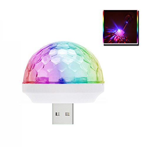 Mini USB Disco Light, Portable Home Party Light, DC 5V USB Disco Ball, Karaoke Sound Actived LED DJ Light