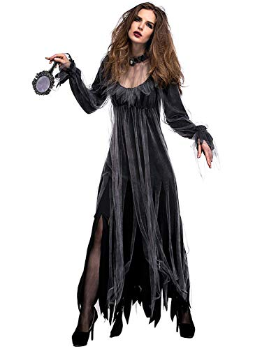 Bloody Mary Halloween Dress (NonEcho Women Scary Zombie Bloody Mary Costume Halloween Horror Ghost Bride Dress)