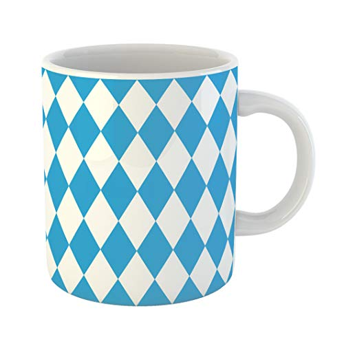 Harlequin Coffee - Emvency Coffee Tea Mug Gift 11 Ounces Funny Ceramic Abstract Harlequin Pattern Blue and White Bavaria Gifts For Family Friends Coworkers Boss Mug