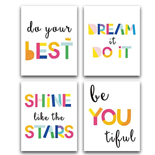 """CHDITB Unframed Watercolor Words Typography Art Print,Inspirational Quote and Saying Art Painting,Set of 4(8"""" x10"""" ) Canvas Motivational Posters for Nursery Or Kids Room Modern Decoration"""