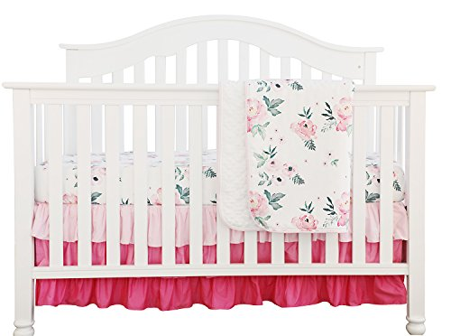 Pink Floral Ruffle Baby Minky Blanket Water color, Pink Floral Nursery Crib Skirt Set Baby Girl Crib Bedding (3 pieces set)