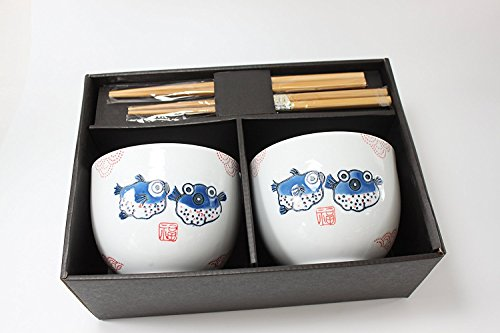 ラーメンボウル [Set of 2] Japanese Porcelain Ceramic Bowls w Chopsticks Ramen Soup Noodle Porridge Menudo Ramen Udon Pasta Cereal Ice cream Pho Rice Instant Noodle ~ We Pay Your Sales Tax (Puffer Fish) by We pay your sales tax (Image #2)