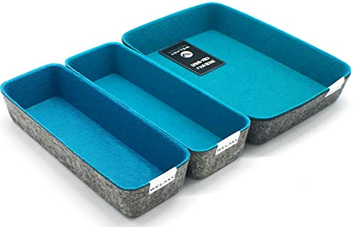 (Welaxy Felt Drawer Organizer Trays Desktop Organizer Bins Storage bin, 3 Pack (Turquoise, 10.2x3.5x1.8in + 10.6x7.5x1.8in))