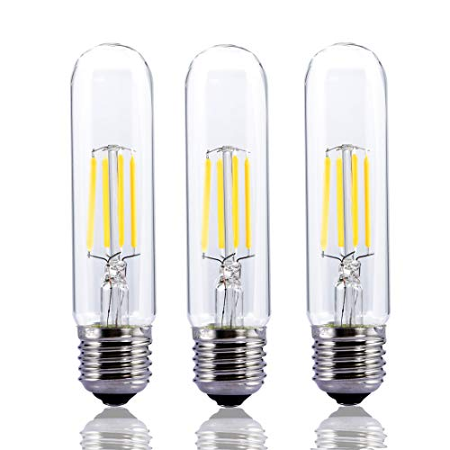 T10 LED Tubular LED Bulb,4 Watt Dimmable LED Light Bulb,Edison Style COB LED Filament Bulb, T10 Nostalgic Bulb, E26 Medium Base, 4000K Day White,400LM,Clear Glass Cover, 3 ()