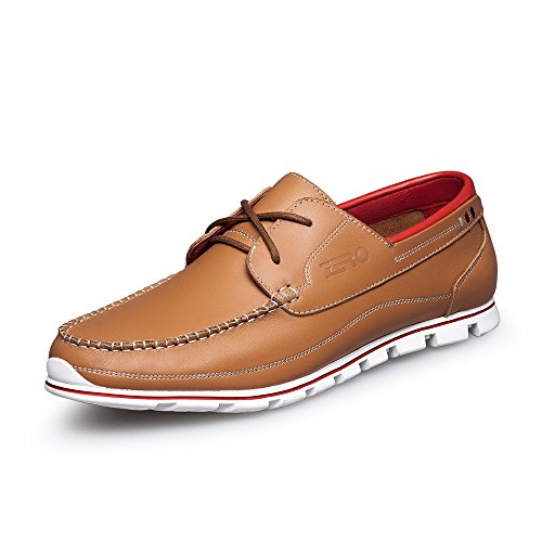 ZRO Men's Premium Genuine Leather Oxford Shoes Lace Up Casual LIGHT BROWN US 8.5 by ZRO (Image #1)