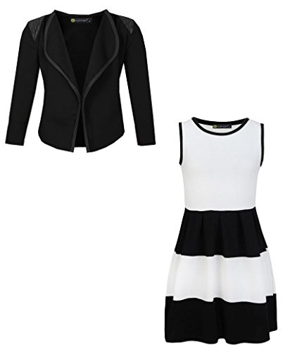Price comparison product image LotMart Girls Sleeveless Skater Dress Bundle with Girls Blazer Jacket in White and Black 7-8 Years