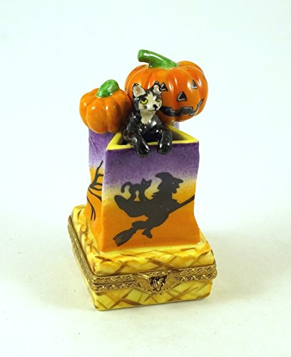 Authentic French Porcelain Hand Painted Limoges Box Halloween Bag with Black Cat Jack'O Lantern Pumpkins and Hand Painted Halloween Flying Witch and Owls ()