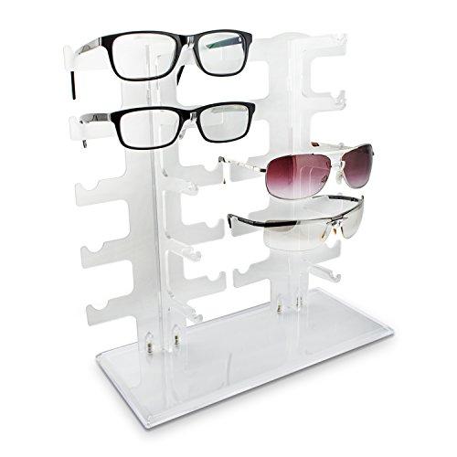 VENKON - Brillenhalter für 10 Paar Brillen Organizer für Aufbewahrung & Präsentation - Acryl Transparent - ca. 32 x 13 x 32 cm