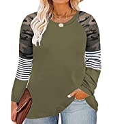 CARCOS Plus Size Tops for Women Twist Knotted Shirts Raglan Tunic Blouses L-5XL