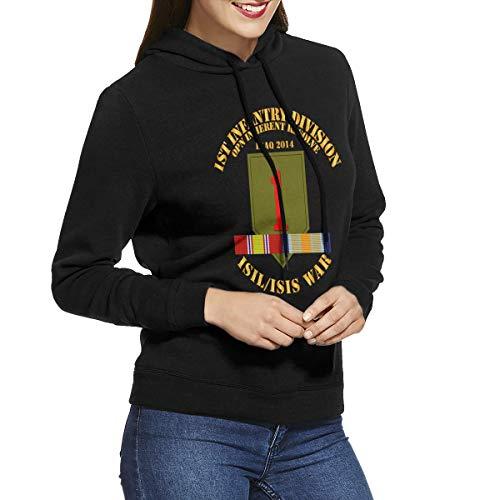 1st Infantry Div War W Isis Inherent Resolve Womens Long Sleeve Pullover Hoodie Sweatshirts Black