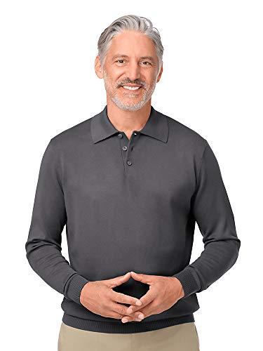 Paul Fredrick Men's Silk, Cotton \ Cashmere Polo Collar Sweater Charcoal Medium ()
