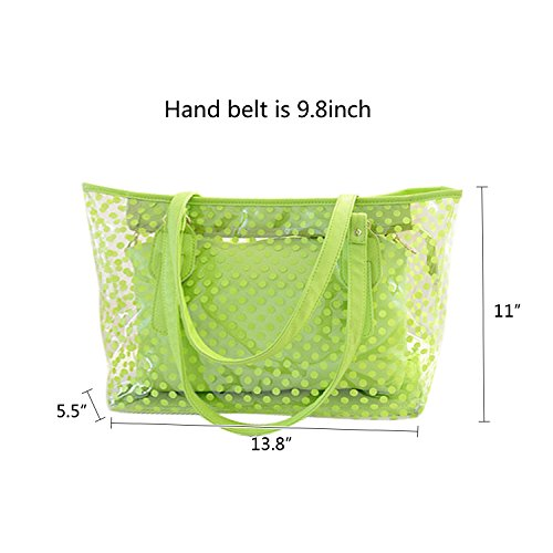 Dot With clear Small Zipper Tote Polka NOTAG Clear Bag Waterproof Pouch Semi Color Green Handbag Bag Tote Beach Candy Beach xqqY1wFP