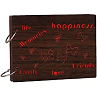 Studio Shubham Life,Friends,Family,Memories Wooden Photo Album with Butter Paper (26 cm x 16 cm x 4 cm, Brown)