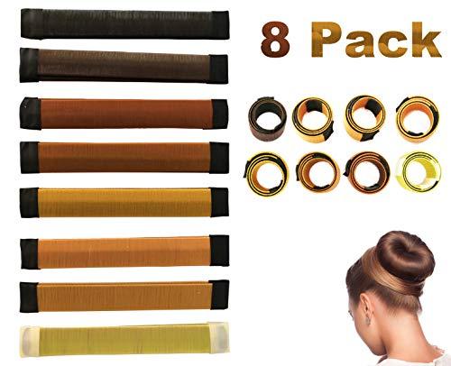 Antallcky Hair Bun Maker-8 pcs French Twist Hair Fold Wrap Snap Magic Bun Shaper Donut Hair Styling DIY Curler Roller Hairstyle Tool Doughnuts Hair Accessories by Antallcky