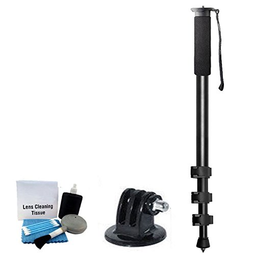 72-Inch Monopod Pro Series Lightweight Heavy Duty Monopod with Quick Release For GoPro Hero 4 Hero3+ Hero 3 Black Silver White (Or Nikon Canon Sony DSLR Camera)+ Carrying Case + Cleaning Kit