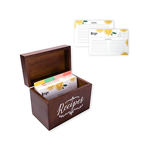 Vintage 4x6 Wood Recipe Box with Cards and Dividers Gift Set | 75 Lemon Orange Double Sided 4x6 Recipe Cards & 8 Dividers | Great Gift for Mom Women Wedding Bridal Shower ()