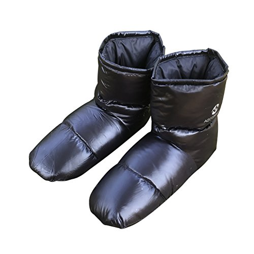 AEGISMAX Down Booties Down Socks Warm Soft Slippers Down Filled Slipper Boots Indoor Warm Down Slippers Plus Size for Men Black - Down Hood