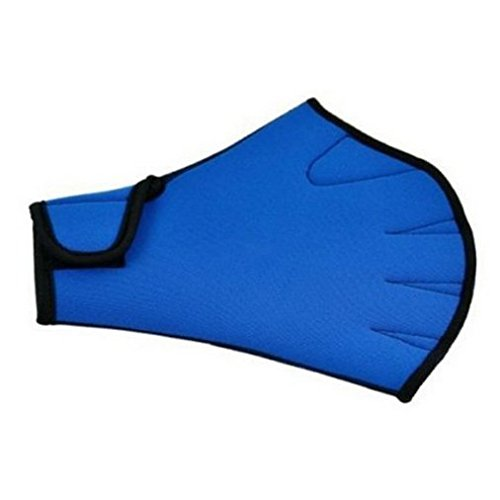 Topseller Swimming Aqua Fit Training Exercise Swim Gloves, Water Resistance Surfing Swimming Sports Paddle Training Fingerless Gloves (Blue, L)