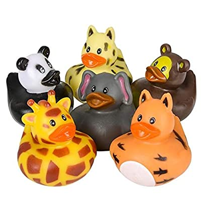 "Rhode Island Novelty 2"" Zoo Animal Rubber Duckies: Toys & Games"