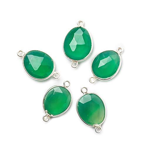 (17x10mm Silver Bezel Green Chalcedony faceted nugget Connector 1 piece)