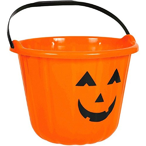 Amscan Forum Novelties Sweet Treats Halloween Pumpkin Bucket Orange Party Favor, Plastic, 6