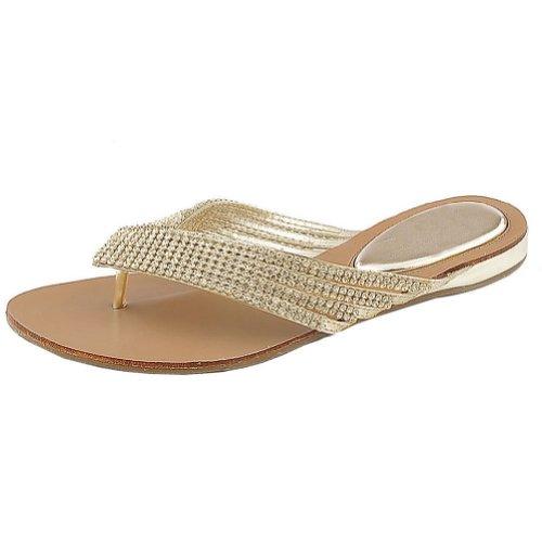 Nature Breeze Women's Kylie-09 Thong Sandals,Gold,9