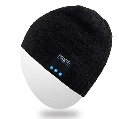 Rotibox Washable Mens Womens Hat Bluetooth Beanie Running Cap w/Wireless Stereo Headphones Mic Hands Free Rechargeable Battery Compatible with Mobile Phones Laptops Tablets, Black