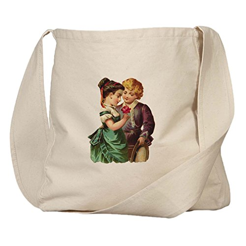 Market Bag Organic Canvas Couple Of Kid With Rose Valentines Day by Style in Print
