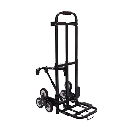 Mecete Enhanced Stair Climbing Cart Portable Climbing Cart 460lb Largest Capacity All Terrain Stair Climbing Hand Truck Heavy Duty with 6 wheels (Black) with Universal wheels Baking Varnish Shining by Mecete (Image #1)