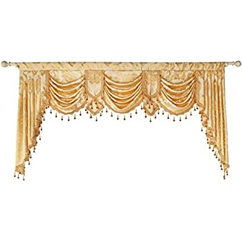 69b2819ebb3145 Queen's House Golden Damask Jacquard Swag Waterfall Valance Luxury Curtain  Valance for Living Room Rod Pocket Valance 79