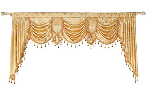 Queen's House Golden Damask Jacquard Swag Waterfall Valance Luxury Curtain Valance for Living Room Rod Pocket Valance 79