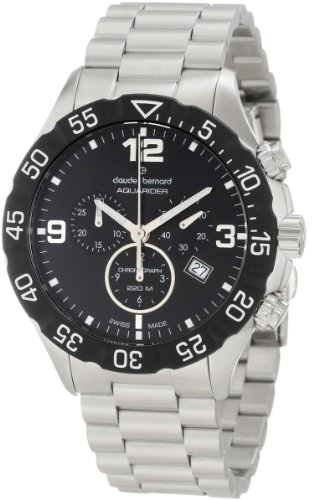 Claude Bernard Men's 10202 3 NIN Aquarider Black Chronograph Rotating Bezel Steel Watch