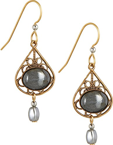 - Silver Forest Open Filagree Teardrops Black Stone Dangle Earrings