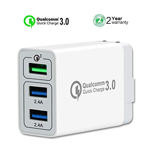 [ QC 3.0 + 2 USB ] QC 3.0 Wall Charger 30W, 3 USB Wall Charger Compatible iPhone X/Xs/XS Max/XR/8/8+/7P/7 Samsung S8/S7/S6/Edge/Note LG HTC (White)