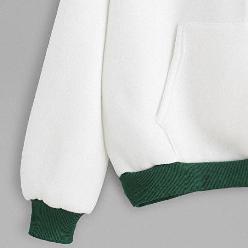 FEITONG Mujer manga larga Algodón Blusa Carta Impresión Camisa de entrenamiento pullovers Blanco