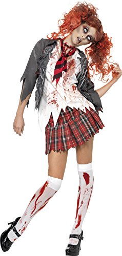 Zombie Costumes For Adults (Smiffy's Women's High School Horror Zombie Schoolgirl Costume, Jacket, Attached Shirt, Tie and Skirt, High School Horror, Halloween, Size 14-16, 32929)