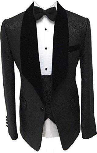 AugusWu One Button Jacquard Weave Mens Slim Fit Tuxedos Suits 2 Piece Sets Black 2 - Black Tuxedo Vested