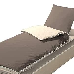 Bleu Câlin Caradou CARC90MIFIPRA Juego de sábanas y fundas de almohada, poliéster, Marrón y Beige, Sencillo, 90x190 cm