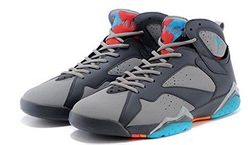 Jordan Air 7 Retro Bg Jongens Sneakers 304774-034 Donkergrijs Turkoois Blauw Wolf Grijs Totaal Oranje 016