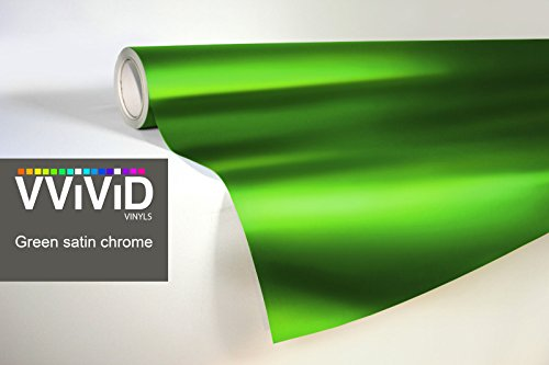 (VViViD Green Satin Chrome 17.75 Inches x 60 Inches Conformable Stretch Vinyl Wrap Roll XPO Air Release Technology)