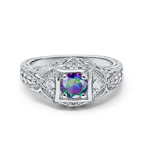 Blue Apple Co. Art Deco Antique Style Wedding Engagement Ring Simulated Rainbow Topaz Round Cubic Zirconia 925 Sterling Silver, Size-9